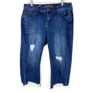 lane Bryant girlfriend crop jeans Lace trim hem